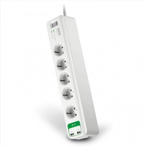 APC Essential Surge Arrest 5 Θέσεων με 2 USB Θύρες (PM5U-GR) White