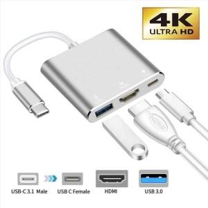 USB-C male - HDMI / USB-A / USB-C female Silver